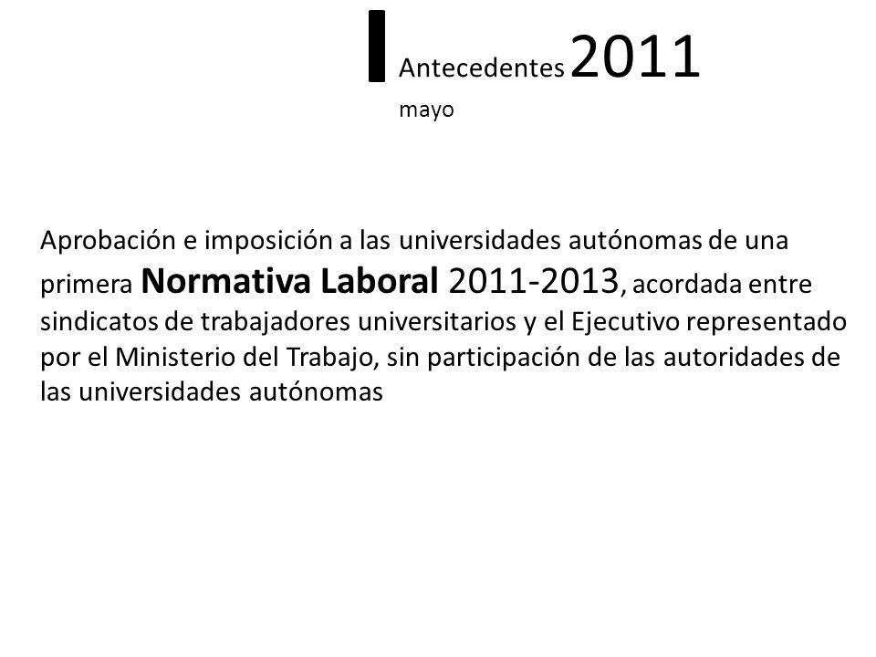 Antecedentes 2011 mayo Aprobación e imposición a las universidades autónomas de una primera Normativa Laboral 2011-2013, acordada entre sindicatos de
