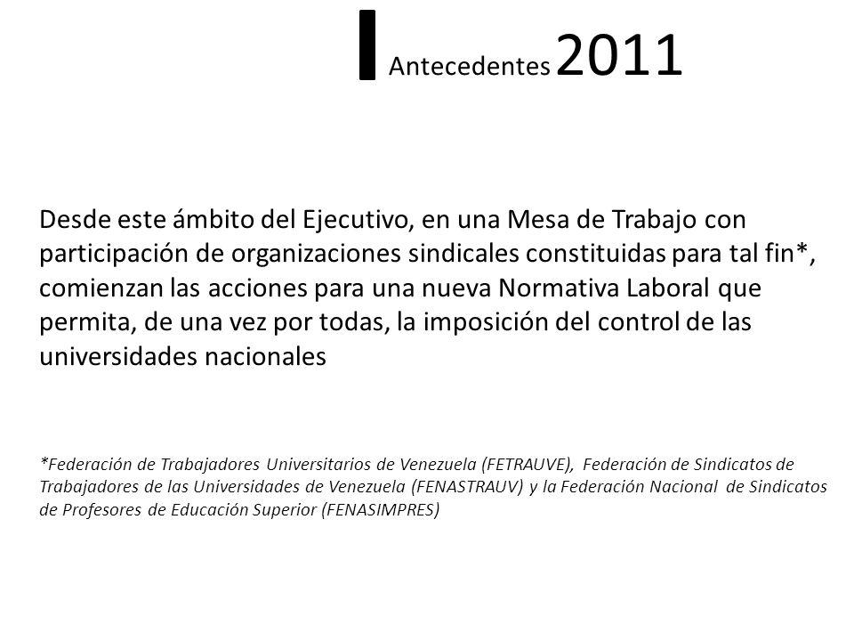 Antecedentes 2011 Desde este ámbito del Ejecutivo, en una Mesa de Trabajo con participación de organizaciones sindicales constituidas para tal fin*, c