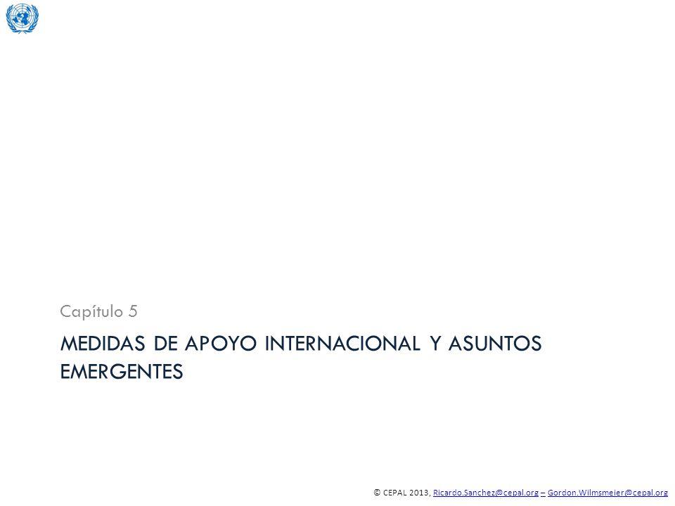 © CEPAL 2013, Ricardo.Sanchez@cepal.org – Gordon.Wilmsmeier@cepal.orgRicardo.Sanchez@cepal.org–Gordon.Wilmsmeier@cepal.org MEDIDAS DE APOYO INTERNACIONAL Y ASUNTOS EMERGENTES Capítulo 5