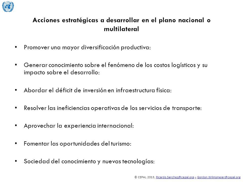 © CEPAL 2013, Ricardo.Sanchez@cepal.org – Gordon.Wilmsmeier@cepal.orgRicardo.Sanchez@cepal.org–Gordon.Wilmsmeier@cepal.org Acciones estratégicas a des