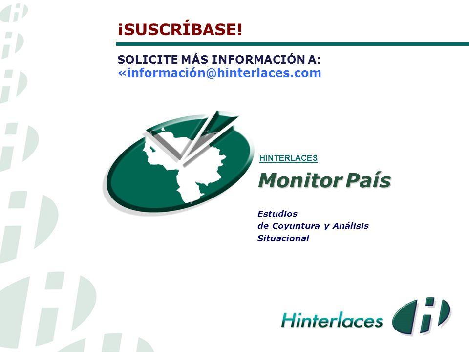Estudios de Coyuntura y Análisis Situacional HINTERLACES Monitor País ¡SUSCRÍBASE.