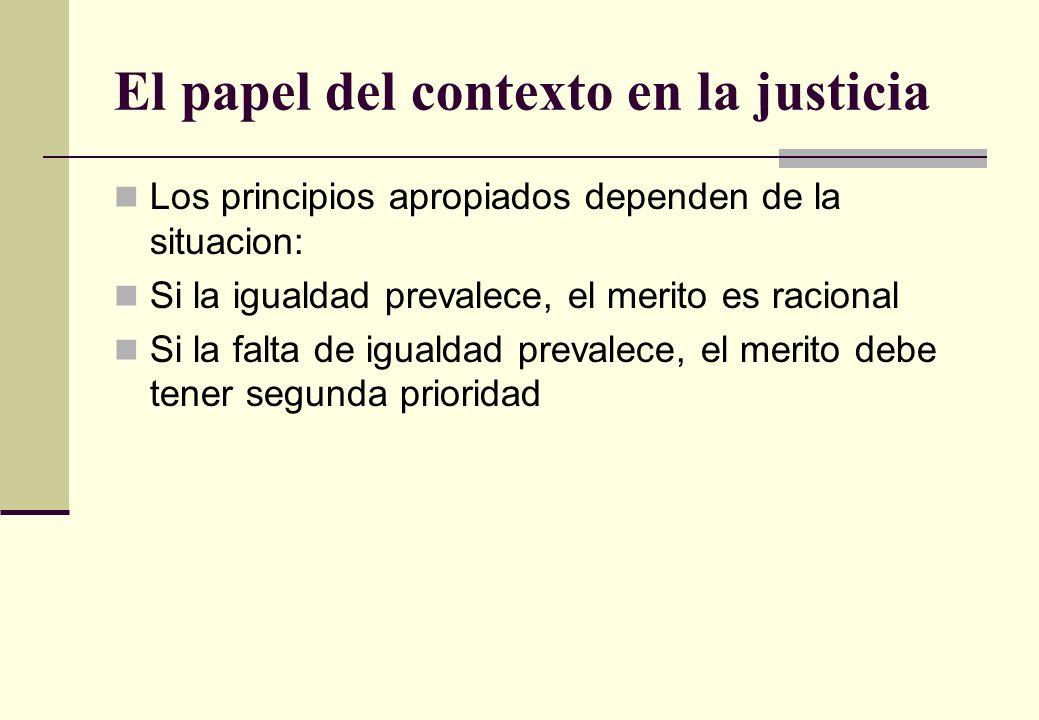 El papel del contexto en la justicia Los principios apropiados dependen de la situacion: Si la igualdad prevalece, el merito es racional Si la falta d