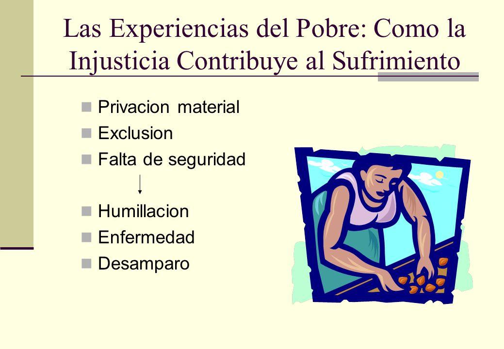 Las Experiencias del Pobre: Como la Injusticia Contribuye al Sufrimiento Privacion material Exclusion Falta de seguridad Humillacion Enfermedad Desamp