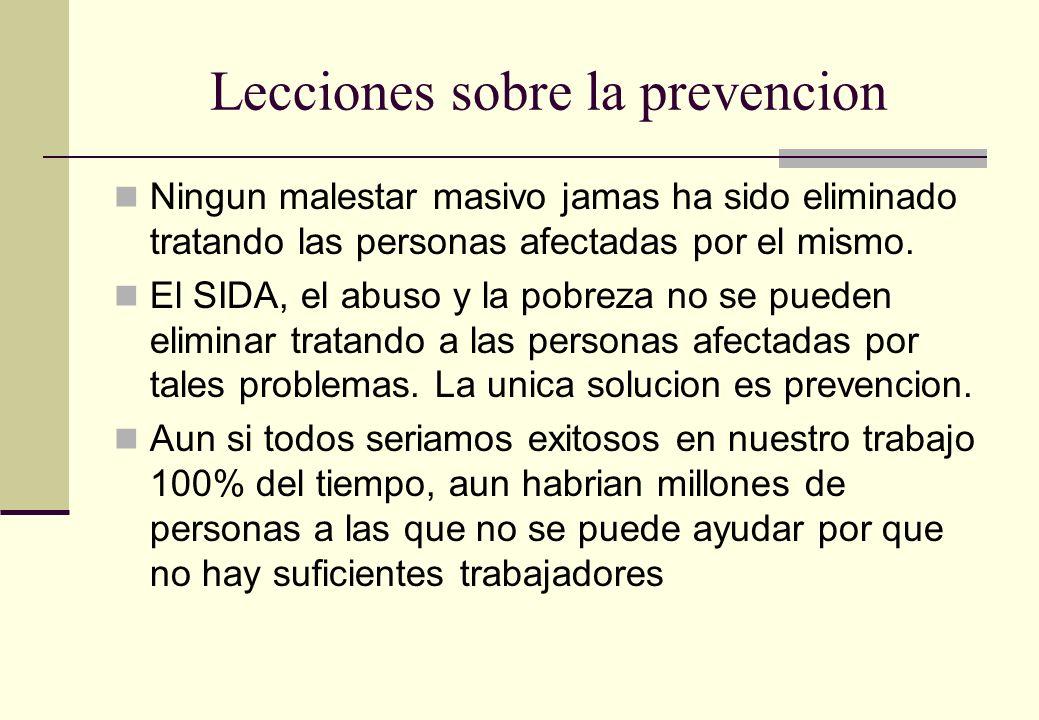 Lecciones sobre la prevencion Ningun malestar masivo jamas ha sido eliminado tratando las personas afectadas por el mismo. El SIDA, el abuso y la pobr