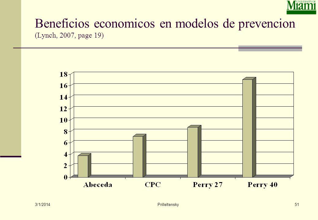 3/1/2014 Prilleltensky51 Beneficios economicos en modelos de prevencion (Lynch, 2007, page 19)