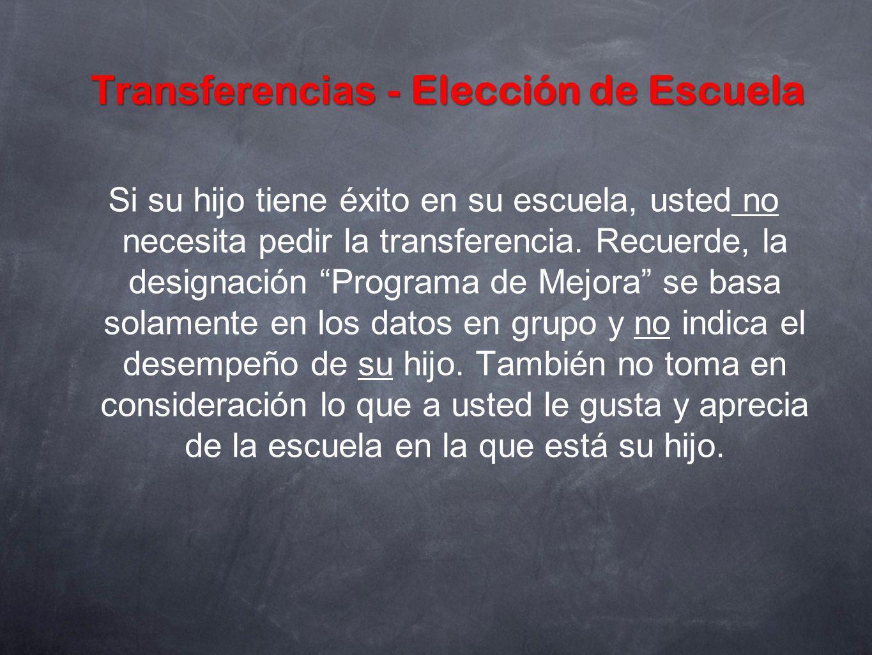 Transferencias - Elección de Escuela Si su hijo tiene éxito en su escuela, usted no necesita pedir la transferencia. Recuerde, la designación Programa