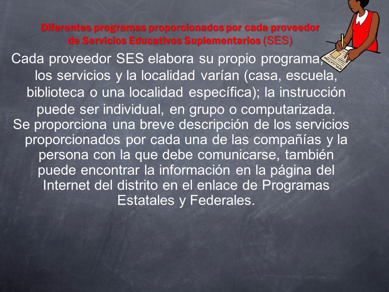 Diferentes programas proporcionados por cada proveedor de Servicios Educativos Suplementarios (SES) Cada proveedor SES elabora su propio programa, y l