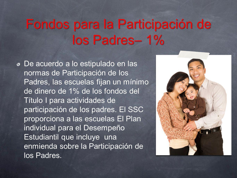Fondos para la Participación de los Padres– 1% De acuerdo a lo estipulado en las normas de Participación de los Padres, las escuelas fijan un mínimo d
