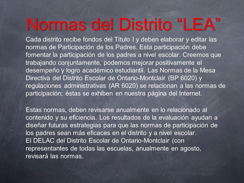 Normas del Distrito LEA Cada distrito recibe fondos del Título I y deben elaborar y editar las normas de Participación de los Padres. Esta participaci
