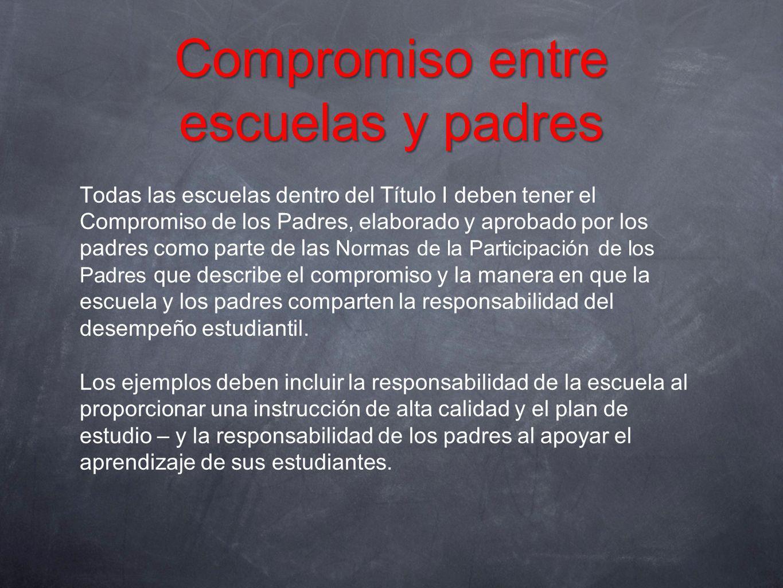 Compromiso entre escuelas y padres Todas las escuelas dentro del Título I deben tener el Compromiso de los Padres, elaborado y aprobado por los padres