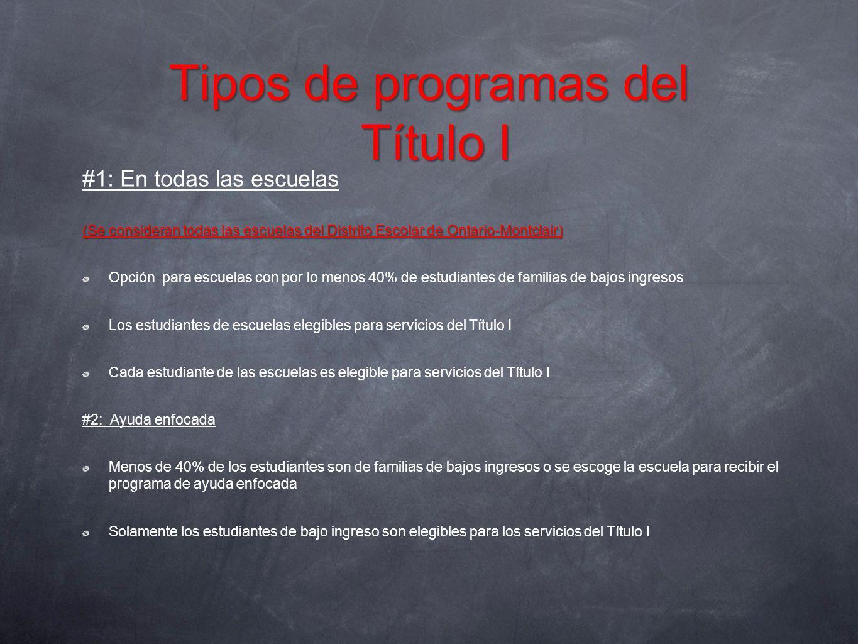 Tipos de programas del Título I #1: En todas las escuelas (Se consideran todas las escuelas del Distrito Escolar de Ontario-Montclair) Opción para esc