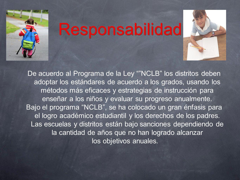 ResponsabilidadResponsabilidad De acuerdo al Programa de la Ley NCLB los distritos deben adoptar los estándares de acuerdo a los grados, usando los mé