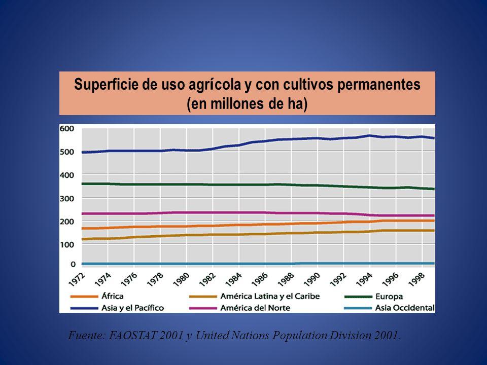 Superficie de uso agr í cola y con cultivos permanentes (en millones de ha) Fuente: FAOSTAT 2001 y United Nations Population Division 2001.