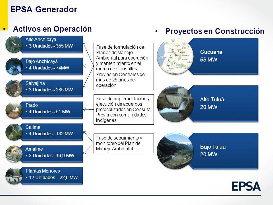 EPSA Generador Activos en Operación Proyectos en Construcción Fase de formulación de Planes de Manejo Ambiental para operación y mantenimiento en el m