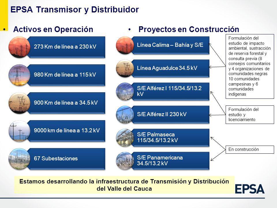 EPSA Transmisor y Distribuidor Activos en OperaciónProyectos en Construcción Estamos desarrollando la infraestructura de Transmisión y Distribución de