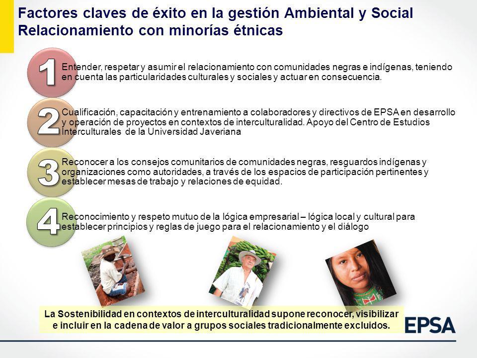 Factores claves de éxito en la gestión Ambiental y Social Relacionamiento con minorías étnicas La Sostenibilidad en contextos de interculturalidad sup