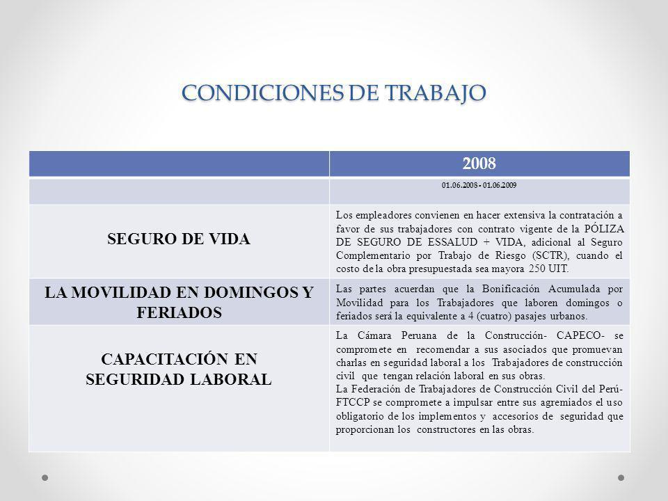 CONDICIONES DE TRABAJO 2008 01.06.2008 - 01.06.2009 SEGURO DE VIDA Los empleadores convienen en hacer extensiva la contratación a favor de sus trabajadores con contrato vigente de la PÓLIZA DE SEGURO DE ESSALUD + VIDA, adicional al Seguro Complementario por Trabajo de Riesgo (SCTR), cuando el costo de la obra presupuestada sea mayora 250 UIT.