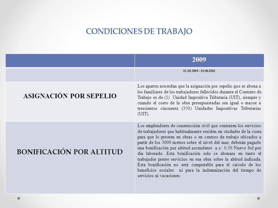 CONDICIONES DE TRABAJO 2009 01.06.2009 – 01.06.2010 ASIGNACIÓN POR SEPELIO Los apartes acuerdan que la asignación por sepelio que se abona a los famil