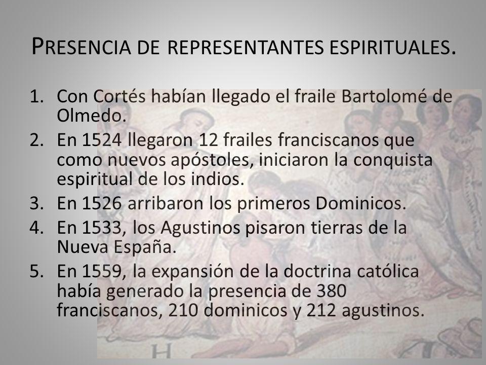 P RESENCIA DE REPRESENTANTES ESPIRITUALES. 1.Con Cortés habían llegado el fraile Bartolomé de Olmedo. 2.En 1524 llegaron 12 frailes franciscanos que c