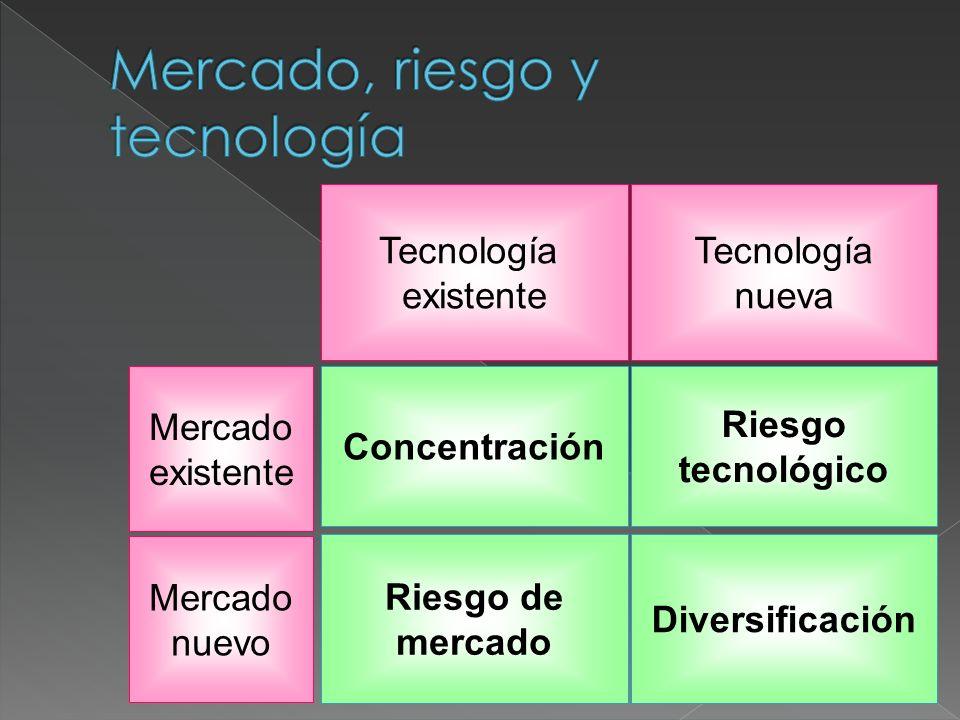 Tecnología existente Tecnología nueva Riesgo de mercado Diversificación Concentración Riesgo tecnológico Mercado nuevo Mercado existente