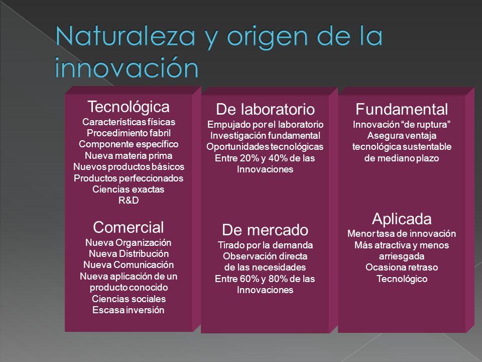 Tecnológica Características físicas Procedimiento fabril Componente específico Nueva materia prima Nuevos productos básicos Productos perfeccionados C
