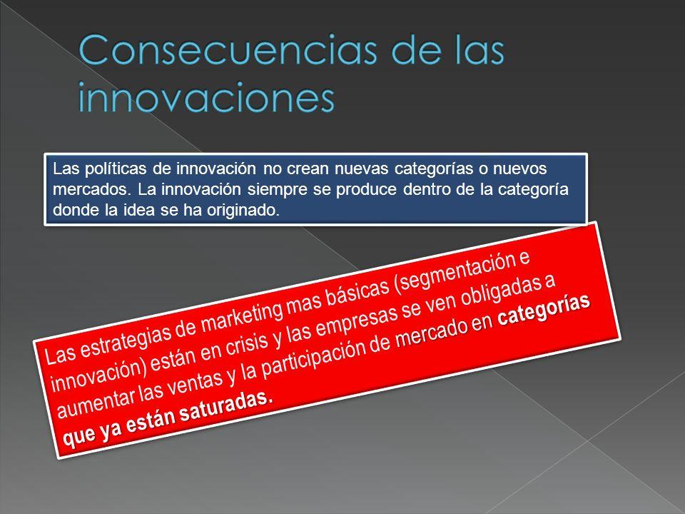 mercado en categorías que ya están saturadas. Las estrategias de marketing mas básicas (segmentación e innovación) están en crisis y las empresas se v