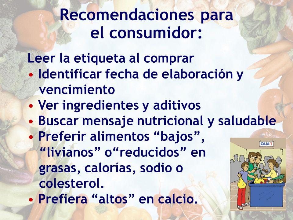 Leer la etiqueta al comprar Identificar fecha de elaboración y vencimiento Ver ingredientes y aditivos Buscar mensaje nutricional y saludable Preferir