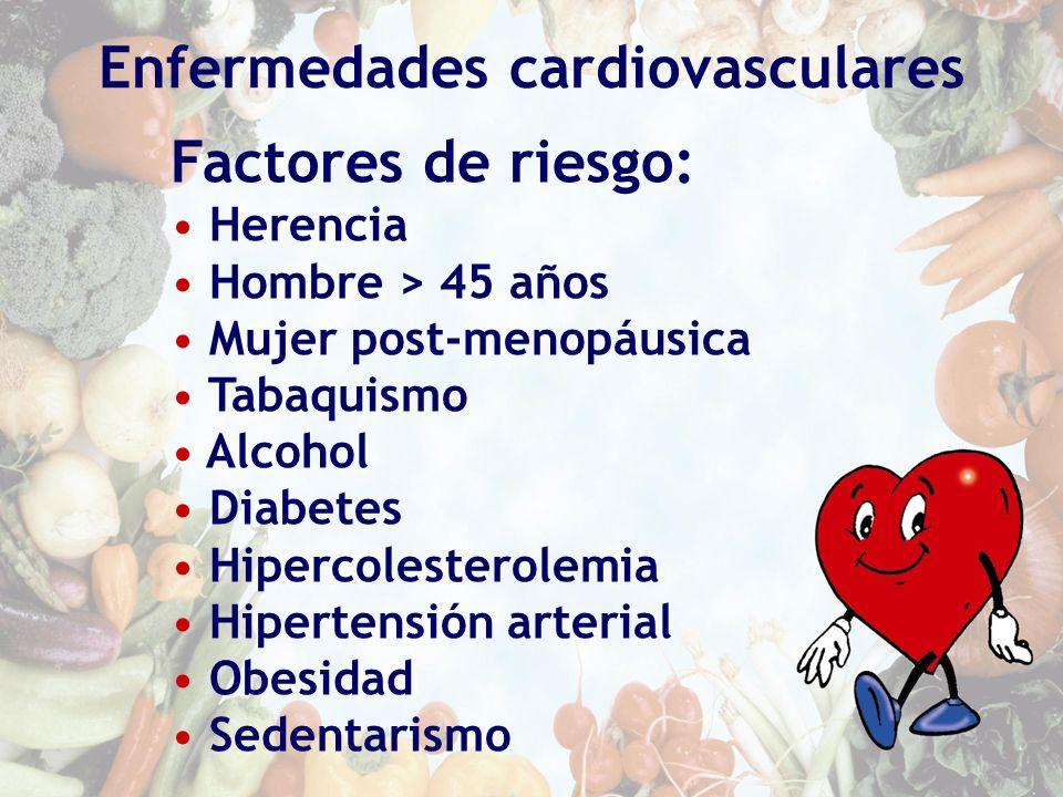 Enfermedades cardiovasculares Factores de riesgo: Herencia Hombre > 45 años Mujer post-menopáusica Tabaquismo Alcohol Diabetes Hipercolesterolemia Hip