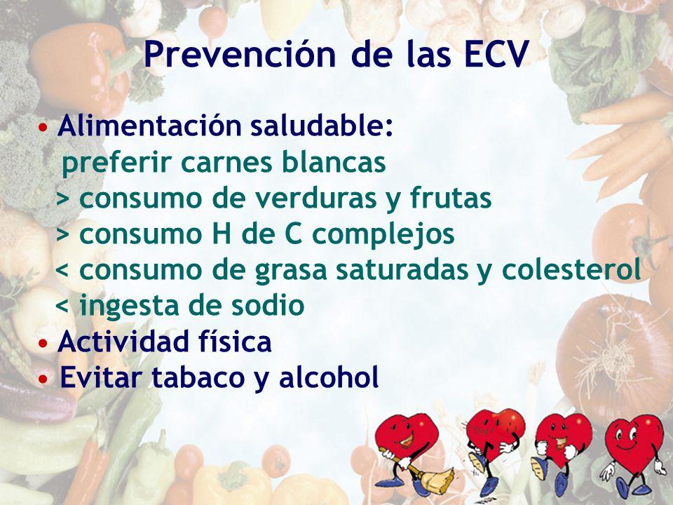 Prevención de las ECV Alimentación saludable: preferir carnes blancas > consumo de verduras y frutas > consumo H de C complejos < consumo de grasa sat