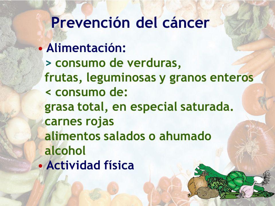 Prevención del cáncer Alimentación: > consumo de verduras, frutas, leguminosas y granos enteros < consumo de: grasa total, en especial saturada. carne