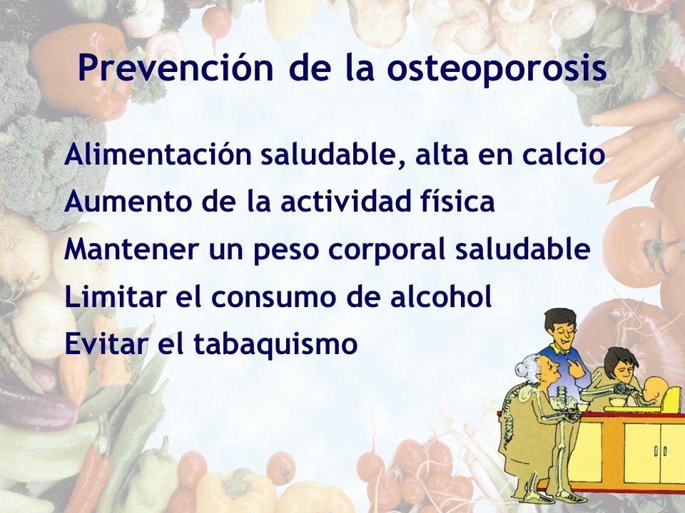 Prevención de la osteoporosis Alimentación saludable, alta en calcio Aumento de la actividad física Mantener un peso corporal saludable Limitar el con