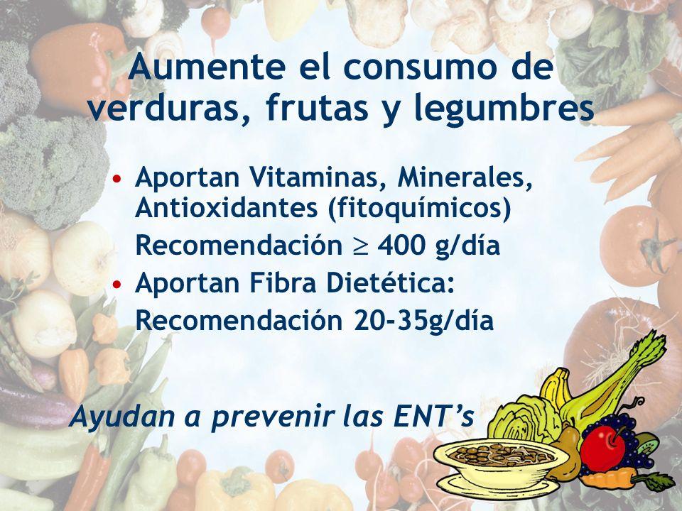 Aumente el consumo de verduras, frutas y legumbres Aportan Vitaminas, Minerales, Antioxidantes (fitoquímicos) Recomendación 400 g/día Aportan Fibra Di