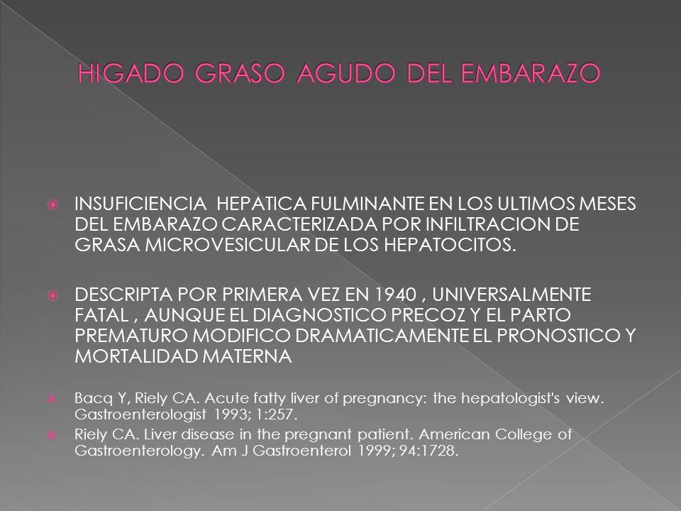 INCIDENCIA DE 1 EN 7000-20000 EMBARAZOS MAS COMUN EN EMBARAZOS MULTIPLES Y POSIBLEMENTE EN MUJERES DE BAJO PESO CORPORAL UN ESTUDIO POBLACIONAL EN REINO UNIDO DE 1132964 PARTOS EN 229 HOSPITALES ENCONTRO 57 HIGADO GRASO AGUDO (5 CASOS CADA 100000 EMBARAZOS), DE ESTOS 19% ERAN EMBARAZOS GEMELARES Y 20% ERAN EN MUJERES CON BAJO PESO (IMC < 20) Knight M, Nelson-Piercy C, Kurinczuk JJ, et al.