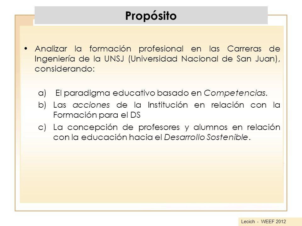 Propósito Analizar la formación profesional en las Carreras de Ingeniería de la UNSJ (Universidad Nacional de San Juan), considerando: a) El paradigma