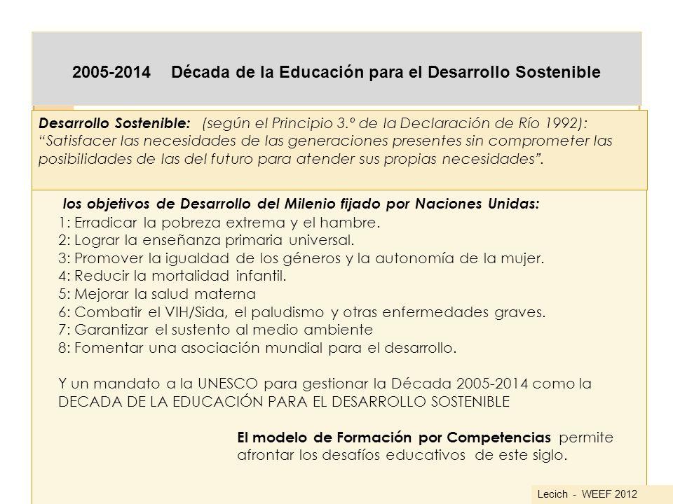 2005-2014 Década de la Educación para el Desarrollo Sostenible los objetivos de Desarrollo del Milenio fijado por Naciones Unidas: 1: Erradicar la pob