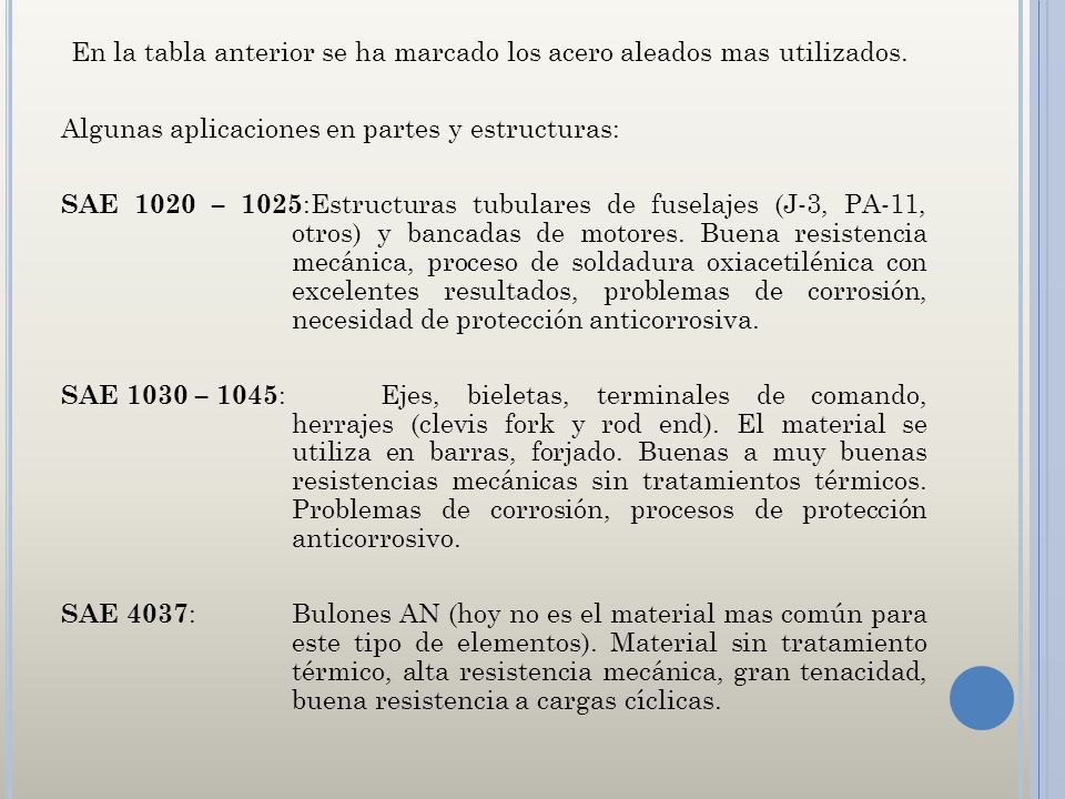 En la tabla anterior se ha marcado los acero aleados mas utilizados. Algunas aplicaciones en partes y estructuras: SAE 1020 – 1025 :Estructuras tubula