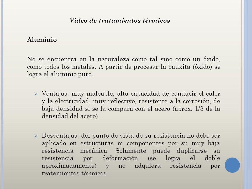 Video de tratamientos térmicos Aluminio No se encuentra en la naturaleza como tal sino como un óxido, como todos los metales. A partir de procesar la