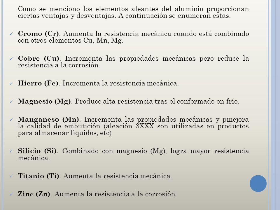 Como se menciono los elementos aleantes del aluminio proporcionan ciertas ventajas y desventajas. A continuación se enumeran estas. Cromo (Cr). Aument