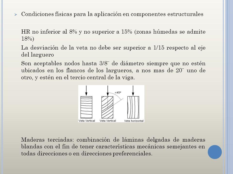 Condiciones físicas para la aplicación en componentes estructurales HR no inferior al 8% y no superior a 15% (zonas húmedas se admite 18%) La desviaci
