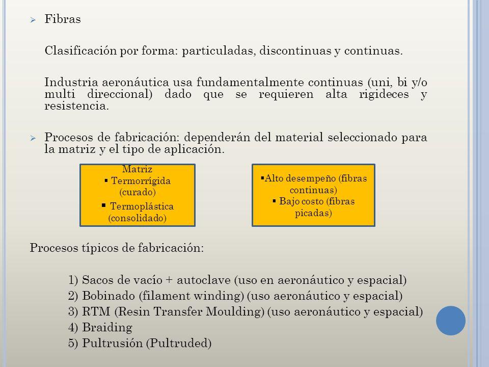 Fibras Clasificación por forma: particuladas, discontinuas y continuas. Industria aeronáutica usa fundamentalmente continuas (uni, bi y/o multi direcc
