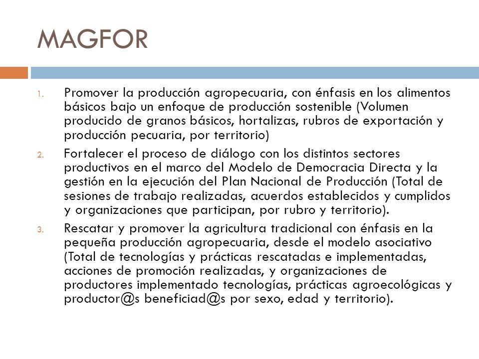 MAGFOR 1. Promover la producción agropecuaria, con énfasis en los alimentos básicos bajo un enfoque de producción sostenible (Volumen producido de gra