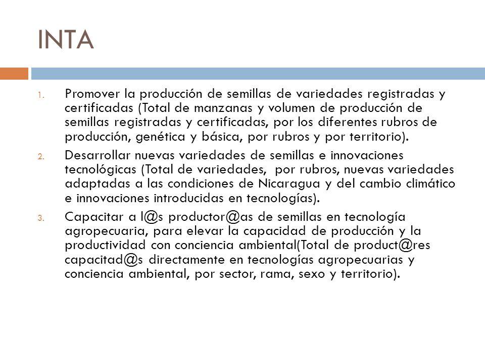INTA 1. Promover la producción de semillas de variedades registradas y certificadas (Total de manzanas y volumen de producción de semillas registradas