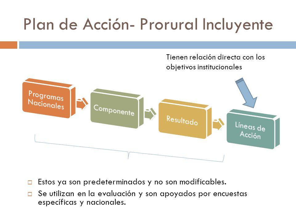 Plan de Acción- Prorural Incluyente Estos ya son predeterminados y no son modificables. Se utilizan en la evaluación y son apoyados por encuestas espe