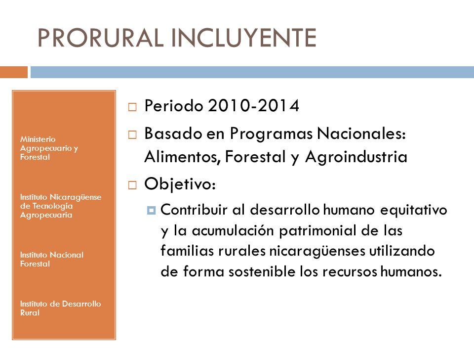 PRORURAL INCLUYENTE Ministerio Agropecuario y Forestal Instituto Nicaragüense de Tecnología Agropecuaria Instituto Nacional Forestal Instituto de Desa