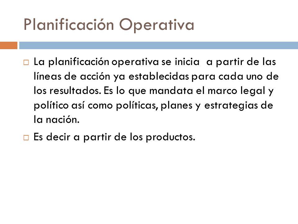 Planificación Operativa La planificación operativa se inicia a partir de las líneas de acción ya establecidas para cada uno de los resultados. Es lo q