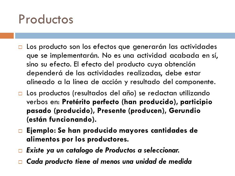 Productos Los producto son los efectos que generarán las actividades que se implementarán. No es una actividad acabada en sí, sino su efecto. El efect