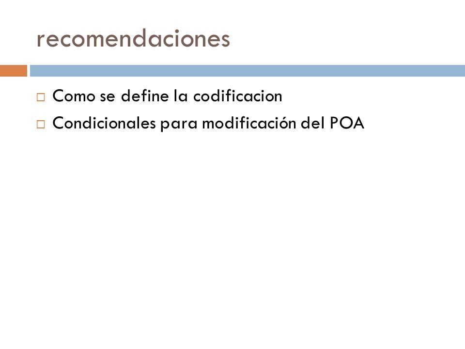 recomendaciones Como se define la codificacion Condicionales para modificación del POA