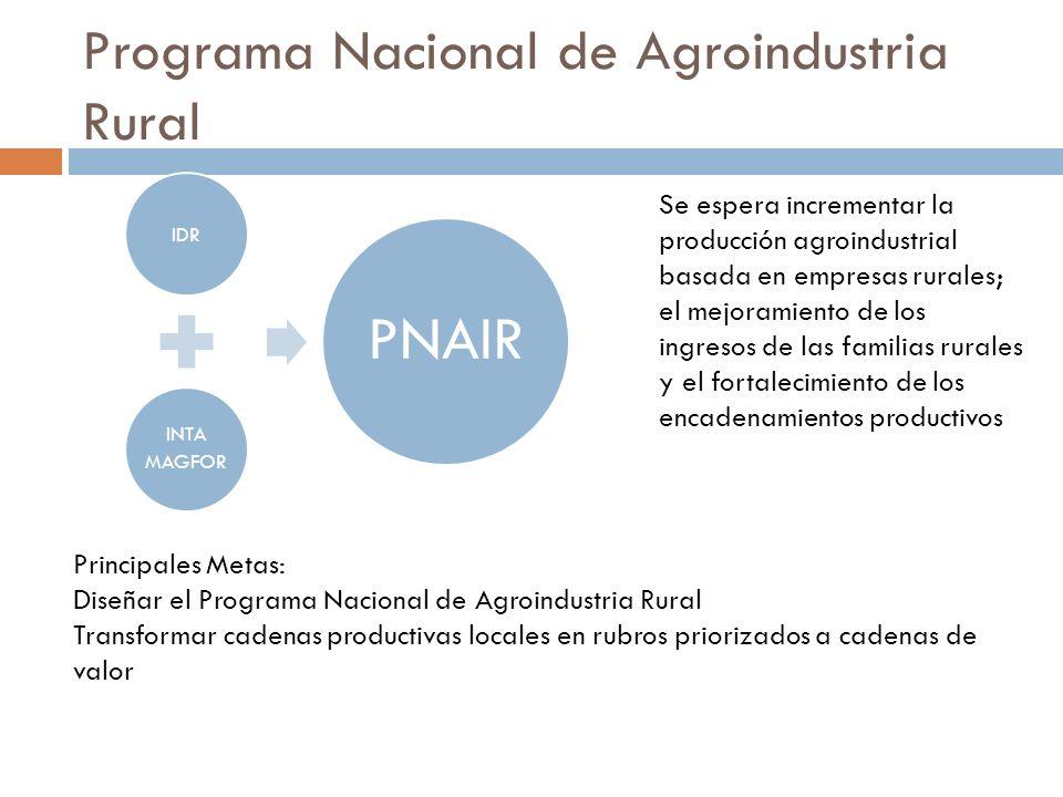 Programa Nacional de Agroindustria Rural IDR INTA MAGFOR PNAIR Se espera incrementar la producción agroindustrial basada en empresas rurales; el mejor