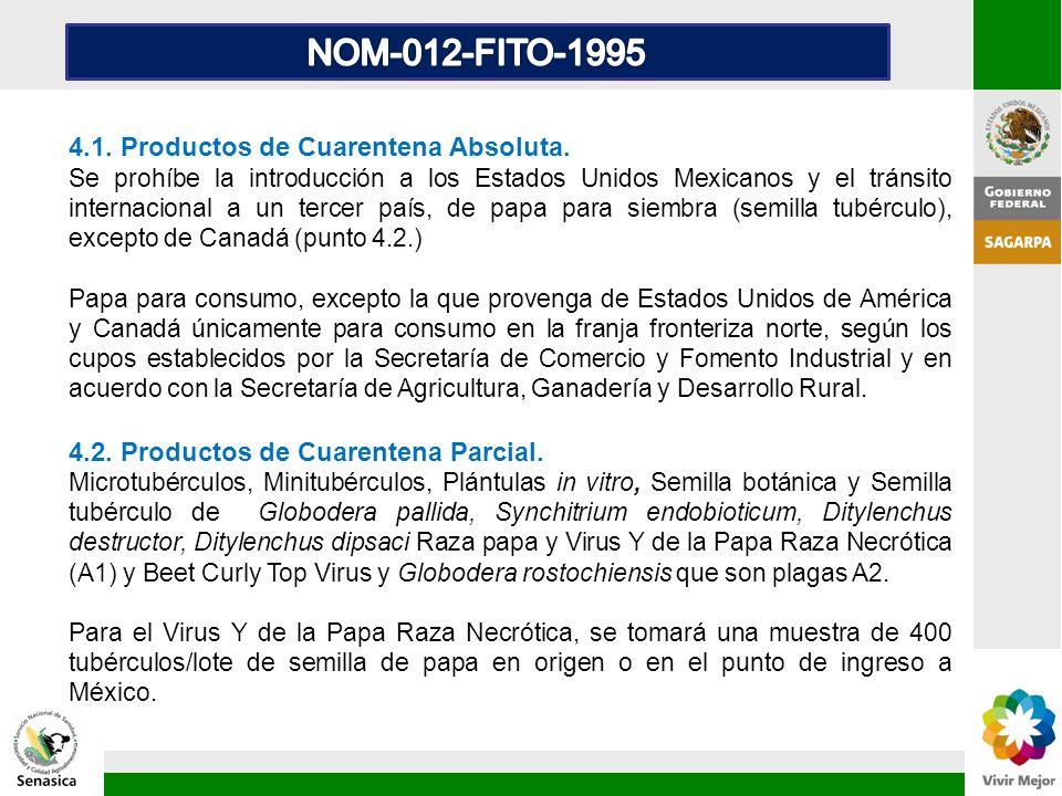 4.1. Productos de Cuarentena Absoluta. Se prohíbe la introducción a los Estados Unidos Mexicanos y el tránsito internacional a un tercer país, de papa