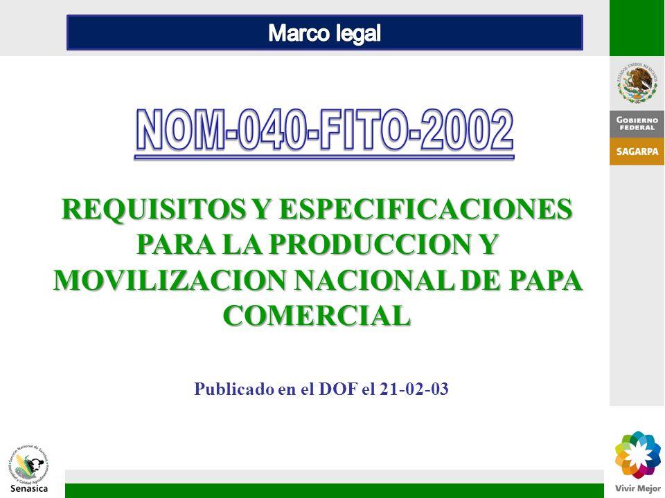 REQUISITOS Y ESPECIFICACIONES PARA LA PRODUCCION Y MOVILIZACION NACIONAL DE PAPA COMERCIAL Publicado en el DOF el 21-02-03
